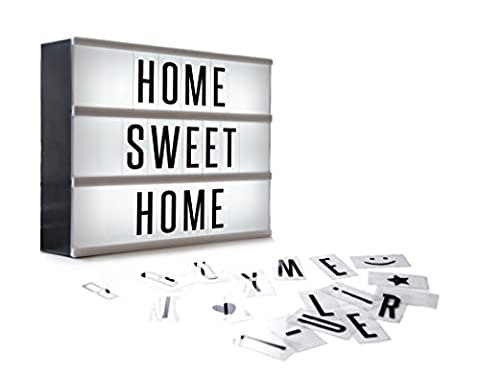 More than a Lightbox, this Cinematic Light box is USB or battery operated (USB Cable Incl.) Retro style light up cinema sign makes an amazing wedding party decoration light, vintage home feature with letters, numbers and symbols or a great gift