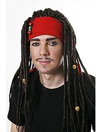 Piraten-Perücke mit Dreadlocks & Kopftuch - Kostüm-Zubehör