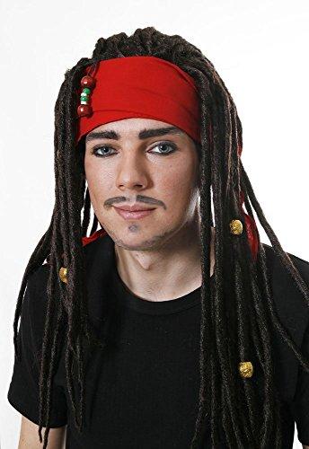 Piraten-Perücke mit Dreadlocks & Kopftuch - Kostüm-Zubehör (Dreadlocks Kostüm Perücke)