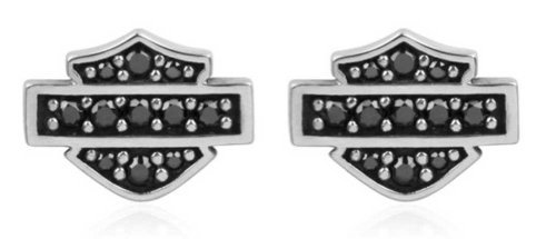 Harley-Davidson Harley-Davidson Women's Petite Black Bling Bar & Shield Post Earrings HDE0281