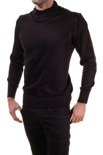 Pietro Liberti - Pull habillé Merinos Col Montant Noir Noir