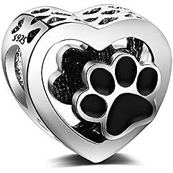 Abalorio de plata de ley 925, con corazón y huellas de patas de animal, compatible con pulseras y collares Pandora y todos los brazaletes europeos