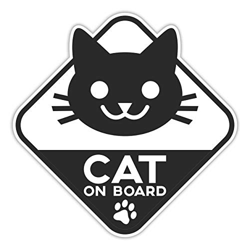 ERREINGE STICKER SAGOMATO 12cm - Cat on Board Gatto a Bordo - Adesivo Decal Decalcolmania Vinile Murale Laptop Auto Moto Casco Cam