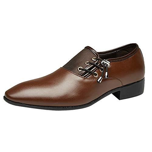 Yearnly Männer Casual Lackleder Mode Schuhe Breathable Loafers Schnür Flache Turnschuhe für Büro Vintage Arbeitskleid Schwarz Braun Gelb 38-48 Pleaser Oxford Pumps