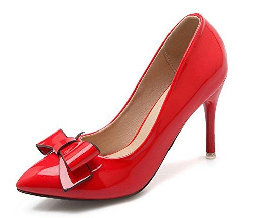 Aisun Femme Elégant Bout Pointu Basse Escarpins Avec Noeud Rouge