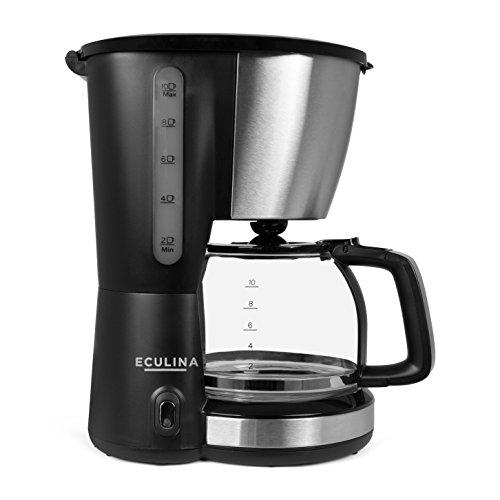 Eculina Kaffeemaschine in Edelstahloptik für bis zu 1,25 L Filterkaffee inkl. herausnehmbarem...