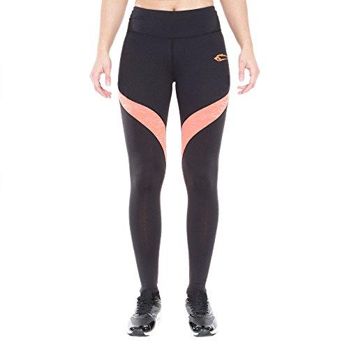 Smilodox Damen Leggings Nonstop, Farbe:Schwarz/Orange, Größe:XS - 2