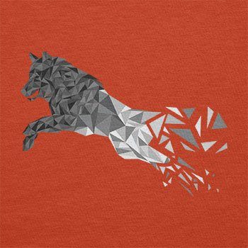 TEXLAB - Polygon Wolf - Herren T-Shirt Orange