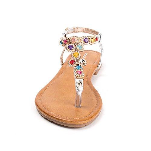 Ideal Shoes Sandales Plates Incrustées DUne Chaîne en Maille Strassée Elina Argent