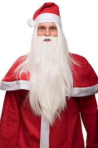 Perücke + Bart + Mütze Weihnachtsmann Nikolaus Santa Claus glatt Weihnachten weiß