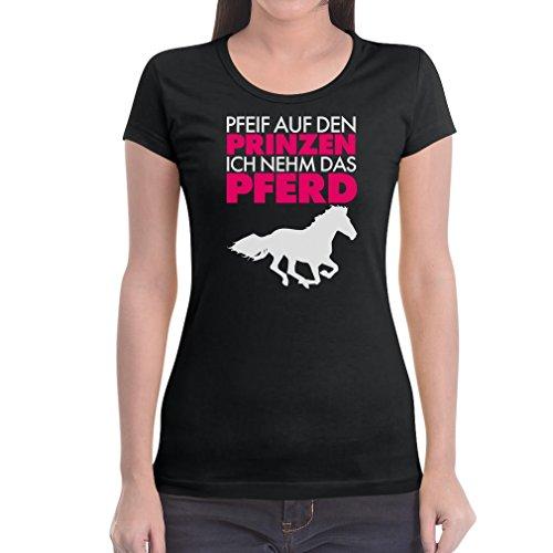 Damen Pfeif auf den Prinz ich nehm das Pferd Frecher Spruch weiss Frauen T-Shirt Slim Fit XX-Large Schwarz (Schnelle Und Einfache Paar Kostüm Ideen)