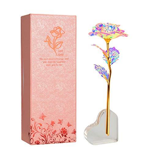 Aokebeey 24k Galaxy Rose Künstliche Bunte Blumen mit Herzförmigen Stand Kreative Geschenke für Hochzeit, Muttertag, Geburtstag, Valentinstag (Herz Stehen)