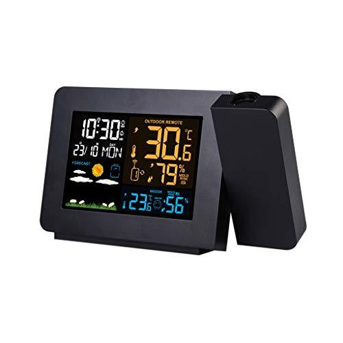 King Boutiques Weather Clock Wetterstation Mit Projektionswettermonitor DCF Funksteuerung Kalender Hintergrundbeleuchtung Wecker Haushaltsgegenstände