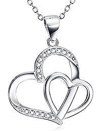 e45e78a0c2ca Astro 925 plata de ley CZ doble corazón colgante collar