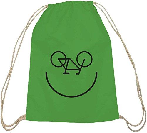 Shirtstreet24, Bike Smiley, Fahrrad Rennrad Baumwoll natur Turnbeutel Rucksack Sport Beutel, Größe: onesize,grün natur
