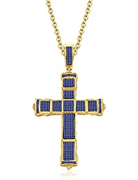 Silvernshine 1CT Round Cut Tanzanite Sim Diamonds Jesus Cross Pendant Charm 14K Yellow Gold Finish