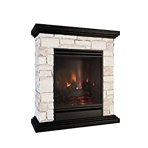 MODERN LIFE Electric Fireplace Suite 1.8kw with Wood Top and Brick Surround og Burning Vivid Flame Effect Electric Fire Stove Overheat Protection Thermostat 2 Heat Settings