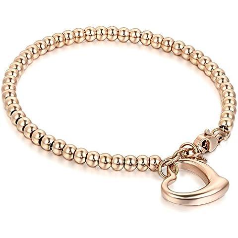 Flongo Braccialetto della donna, in acciaio inox lucidato, pellet preziosi per le spose/damigelle d'onore, Ciondolo cuore fortuna, Colore oro rosa / argento