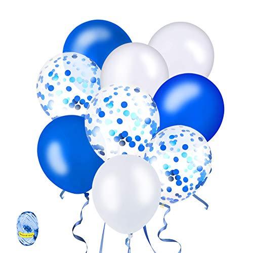 tballons, Blau und Weiß Ballons Latex Glitter Ballons mit Luftschlangen Helium Ballons für Hochzeit Geburstagsdeko Babyparty Junge Dekoration ()