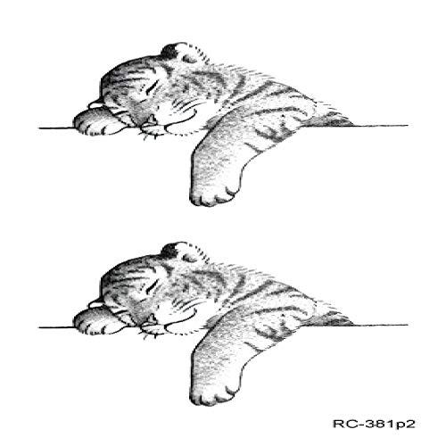 5pcs Simpatici Animali Tatoo Pesce Gatto Adesivi Tatuaggio temporaneo per Donne Tatuaggio Finto Arte tatuajes temporaire RC-381p2 10,5 x 6 cm