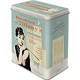 Nostalgic-Art Lata metálica de Estilo Retro (10 x 14 x 20 cm), diseño de Audrey Hepburn en Desayuno con Diamantes, Color Azul