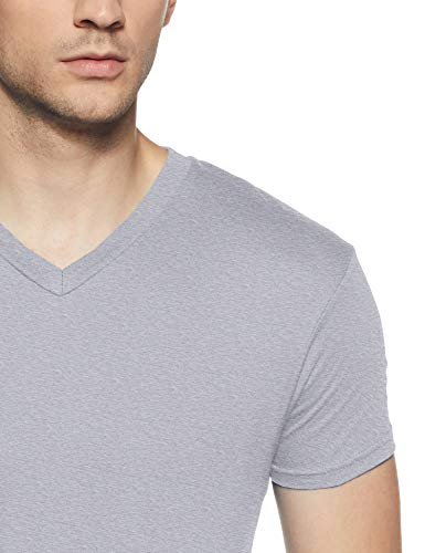 Hanes Men's V-Neck Cotton T-Shirt (8907163459855) (MPH75-003-PL LT.Steel M)