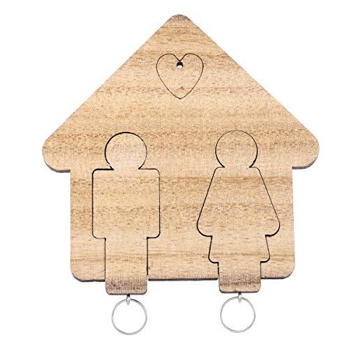 Vosarea coppia di portachiavi in legno portachiavi set di coppie personalizzate decorazione per san valentino (marrone)