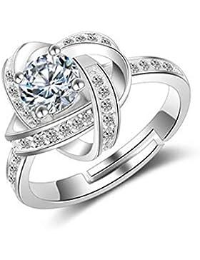 Damen Ringe Öffnung Verstellbar 925er Sterling Silber mit Zirkonia Partnerschaftsringe Trauringe Ewige Liebe Cross...