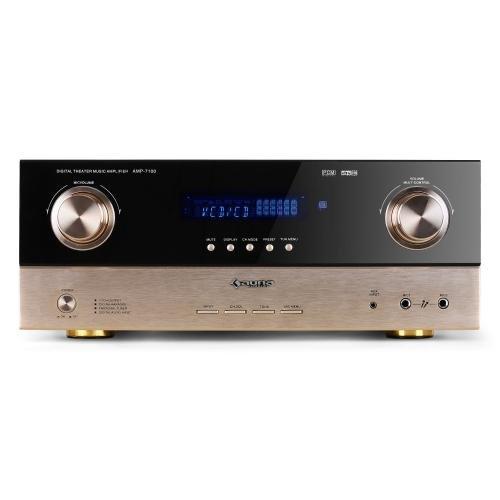 Auna AMP-7100 Amplificador HIFI home cinema 7.1 (2000W, sintonizador radio, entradas ópticas, mando a distancia) - bronce