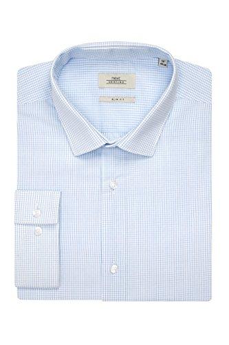 next Lot de deux chemises slim bleues avec cravate Coupe Slim Homme Bleu