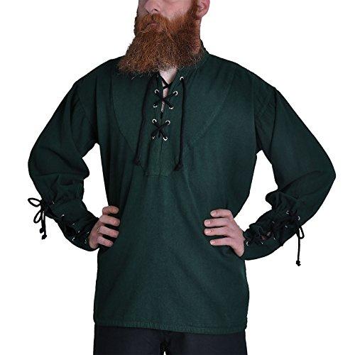 Piratenhemd mit Stehkragen Gr. XXL Gothic Mittelalter grün (Mittelalter Herren Xxl Kostüm)