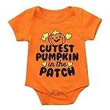 SEWORLD Baby Halloween Kleidung,Niedlich Neugeborenen Baby Mädchen Jungen Brief Print Strampler Overall Halloween Outfits(Orange,6 Monate)