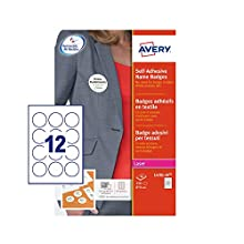 Avery L4781-20 Round Self-Adhesive Name Badges, 12 Badges per Sheet, 240 Badges Total, White
