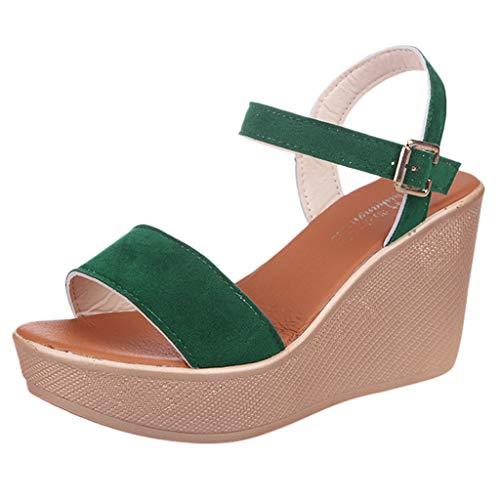 UOWEG Keile Sandalen für Damen Open Toe atmungsaktive Strand Sandalen Rom Gummiband Casual Wedges Schuhe Patent Open Toe Plattform