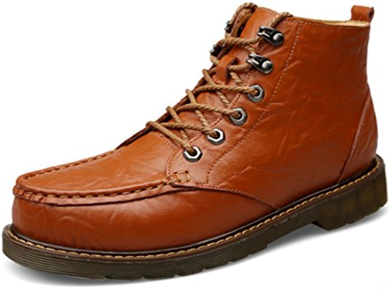 ZQ@QXEl otoño y el invierno al aire libre correa casual hombres botas botas, rojo marrón, 39  -