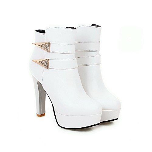VogueZone009 Donna Punta Tonda Tacco Alto Bassa Altezza Puro Stivali Bianco