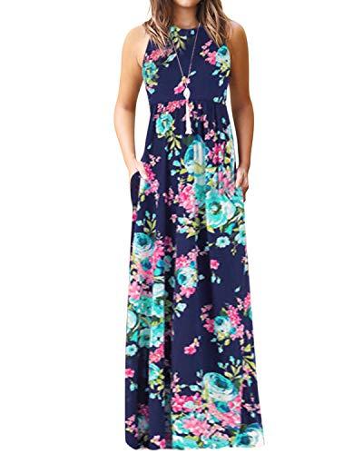 YOINS Robe Longue Femme Robe Bohême Été Chic Imprimé Florale Robe De Plage sans Manches Robe Rayures Tunique Maxi, Imprimé-bleu Foncé, EU 36-38