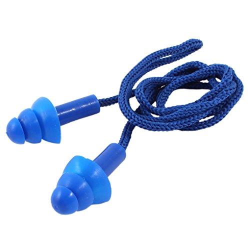 SODIAL(R) Tapones de silicona Azul con cordon elastico Tapones para los oidos con caja de almacenamiento