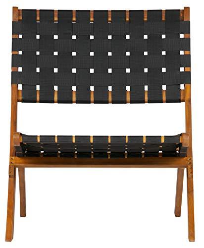 PEGANE Chaise Longue en Bois Coloris Noir et Naturel - Dim : H72.5 x L78 x P60 cm