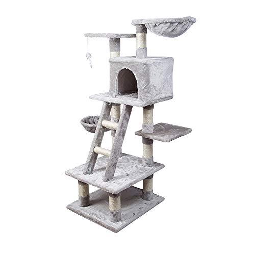 AUFUN Stabiler Kletterbaum 120 hoch – Kratzbaum inkl. Dicken Sisalstämmen, Höhle, Liegemulde, Aussichtsplattformen & Ladder für Katzen