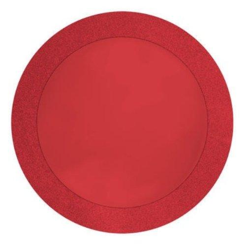 Unbekannt Creative Converting Glitz rot rund Papier Tischsets mit 5,1cm Glitzer Grenze, 8Zählen -