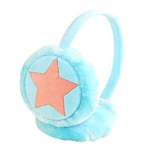 Kinder Mädchen Winter Warm Falsch Plüsch Mignon Fünf Spitz Sterne Ohr Warm Ohrenschützer von Weihnachten Geschenke Himmelblau
