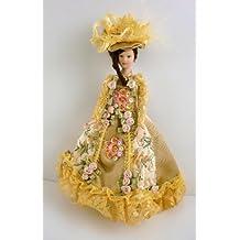 Bambola Vittoriana in Porcellana con Abito Dorato per Casa delle Bambole