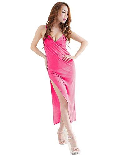 Moolecole Mujeres Sexy Lencería Remetidos Camisón Ropa Dormir Largo Vestido con Tanga (Rosa roja)