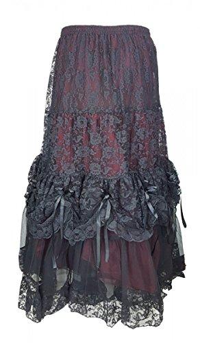 Dark Dreams Gothic Western Steampunk Braut viktorianischer Rock gerafft Tüllrock Tüll - Rock Elvira, Farbe:schwarz/rot, ()