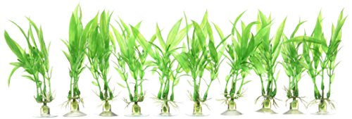 uxcell Aquarium Decoration Plastic Plant with Sucker Base Standing Well, Green, 10-Piece 1