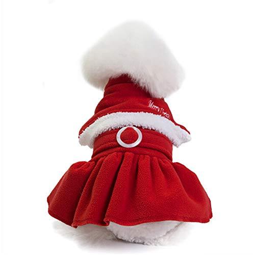 MNEFEL Vestiti dell'animale domestico di Natale Kostüm da Gatto Cappotto regolabile Con Cappuccio di Babbo Natale Con Cappuccio regolabile per Babbo Natale