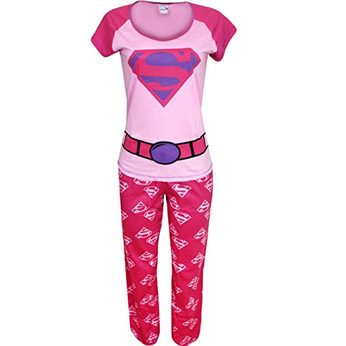 lafanzug Set Nachtwäsche Schlafanzüge Nachtwäsche Pyjama Winter Warm Dessous Neuheit Superheld Comic Damen Geschenk Gr. 16 - 18, Rosa - Pink (Damen Superhelden-nachtwäsche)