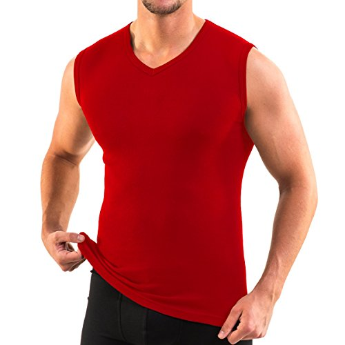 Preisvergleich Produktbild 3050 Herren Muskelshirt V-Neck exclusive by HERMKO aus 100% Baumwolle Atlethic Vest Unterhemd,  Größe:D 7 = EU XL,  Farbe:rot