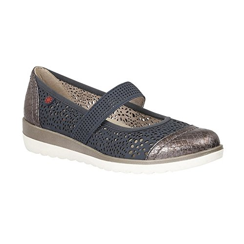 Lotus Relife Timour Navy & Snake Laser-Cut Mary-Jane Shoes 38